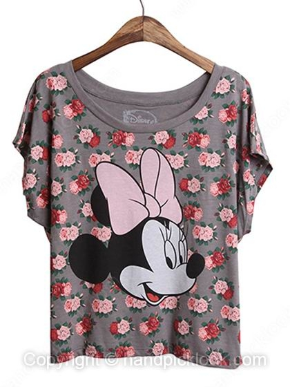 Grey Scoop Short Sleeve Minnie & Floral Print T-Shirt - HandpickLook.com