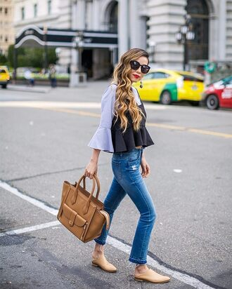 top tumblr peplum denim jeans blue jeans skinny jeans bag handbag shoes mules sunglasses