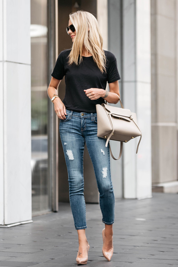Shoes Black T Shirt Ripped Jeans Beige Bag Nude