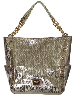 13df289099d8 Michael Kors Pale Gold MK Mirror Metallic Signature Delancy Large Shoulder  Bag Tote Handbag Purse: Handbags: ...
