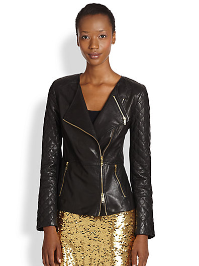 DKNY - Zip-Front Leather Jacket - Saks.com
