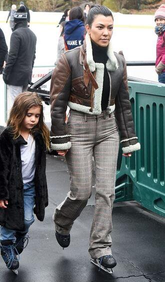 jacket pants kourtney kardashian winter outfits kardashians streetstyle turtleneck