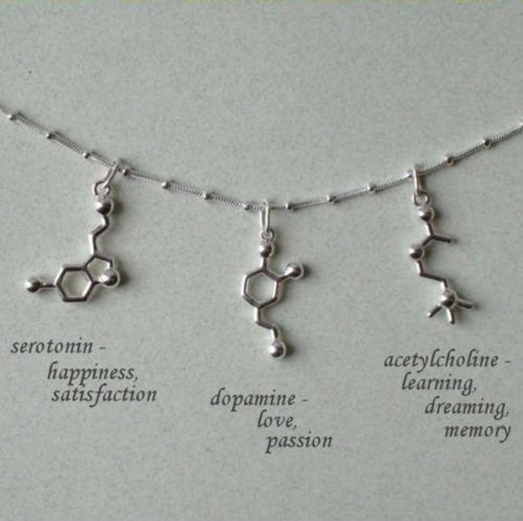 jewels necklace silver jewelry silver necklaces neurotransmitter serotonin dopamine acetylcholine science chemistry happiness love memory molecules unusual hipster silver nerd gorgeous statement necklace element necklace symbols