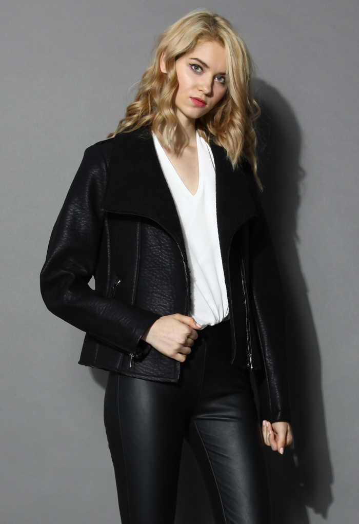 Faux Leather Shearling Biker Coat - Retro, Indie and Unique Fashion