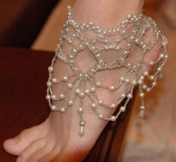 pearls jewels wedding beach anklet anklet pearl wedding anklet wedding barefoot beach style anklet white payal wedding clothes star style wedding jewelry