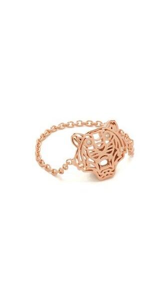 mini tiger ring gold pink jewels