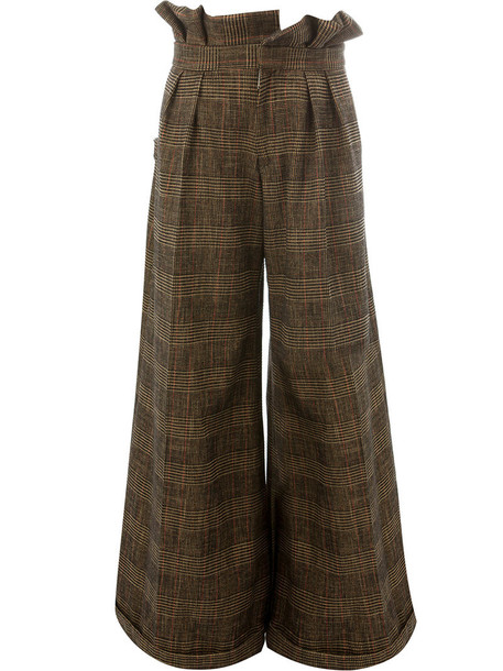 women cotton brown pants