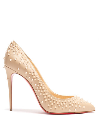 embellished pumps leather nude shoes