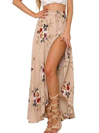 skirt tan wrap floral beach summer