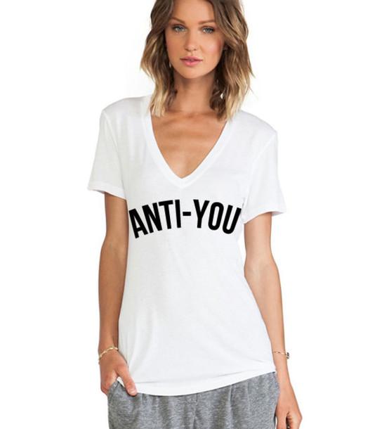 T Shirt Slogan Top Deep V Neck American Apparel