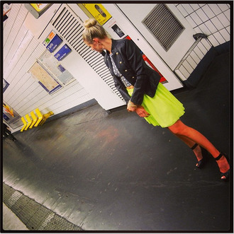 skirt neon green pleated pleated skirt neon skirt green skirt yellow