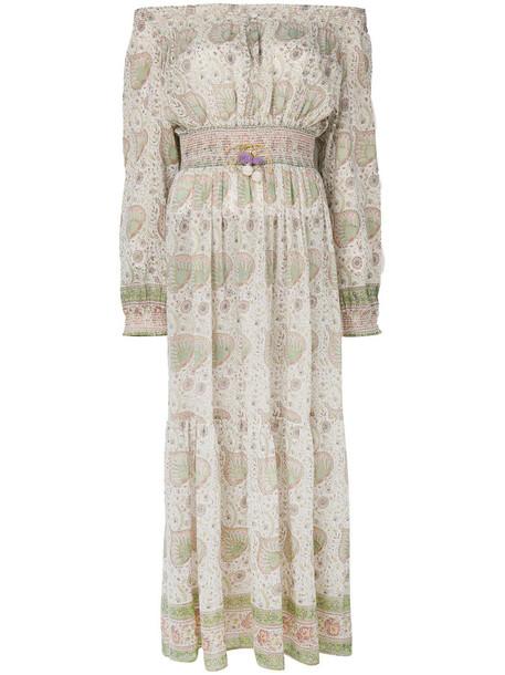 Alicia Bell - off-shoulder maxi dress - women - Silk/Cotton - XS, Green, Silk/Cotton