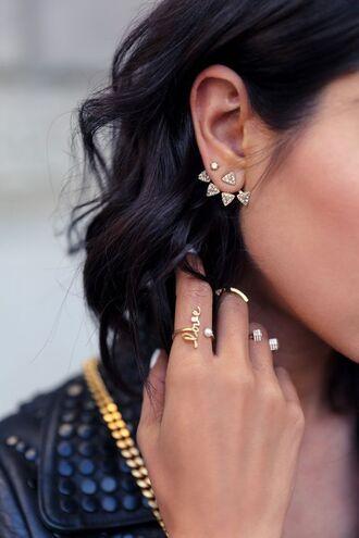 jewels earrings gold ear jacket jewelry