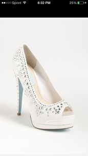 shoes,betsey johnson,high heels,dimonds,white