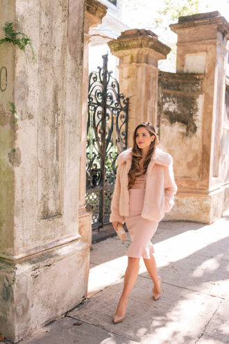 gal meets glam blogger jacket dress shoes bag fall outfits winter outfits faux fur jacket pumps