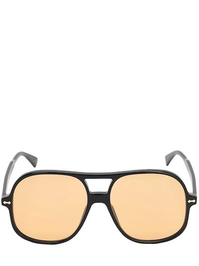 GUCCI Oversize Acetate Aviator Sunglasses Black/yellow