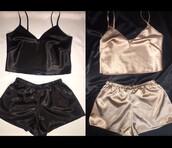 tank top,satin,velvet,black,gold,top,gold top,gold shorts,black shorts,shorts,two-piece,silk,silk 2 piece,gold 2 piece,2 piece short set,sexy 2 piece sets