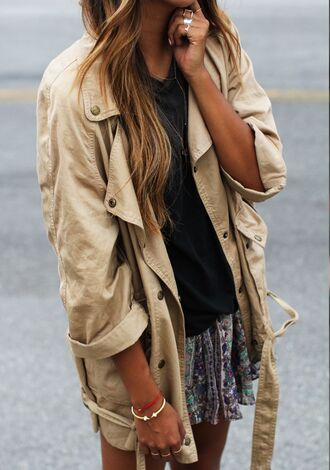 jacket beige brown skirt colorful black shirt ring hipster streetstyle coat tan fashion summer girly boho bohemian khaki trench coat tumblr cute outfit trendy hot clothes shorts beach beige jacket