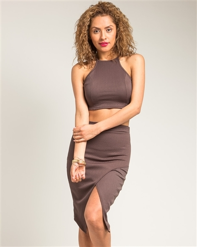 Lethalbeauty ? brown halter top with split pencil skirt set