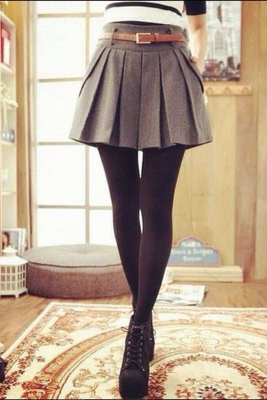 skirt grey skirt cute skirt pleated skirt fall outfits belted skirt grey Belt short fall outfits fall outfits