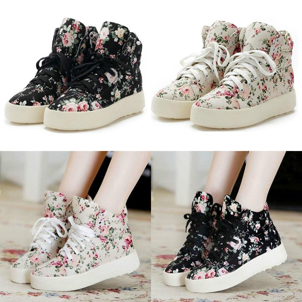 Flat Platform Shoes Canvas Cotton Floral Flowers High Top Sneakers