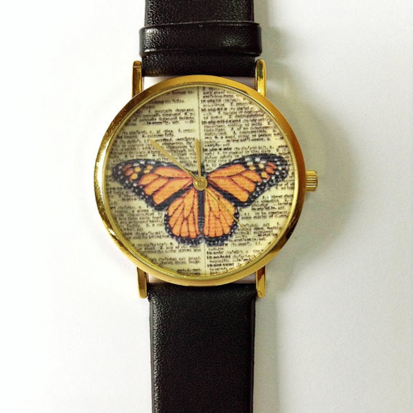 jewels butterfly leather watch