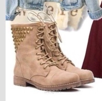 shoes combat boots beige studded studs stud