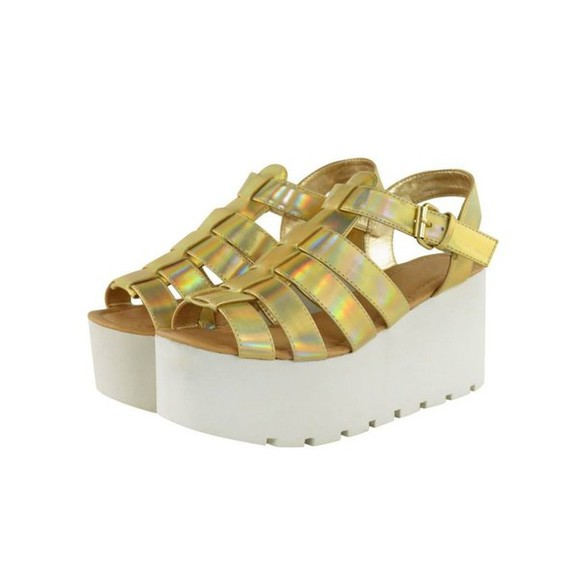 shoes white golden hologram flatforms