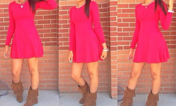 red dress long sleeve dress dress boots