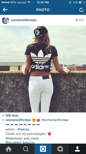 shirt black and white t-shirt adidas shirt blouse jeans hat