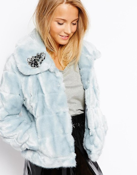 asos jacket pretty jacket ice blue fluffy jacket coat winter cold blue fur light blue fluffy jacket warm winter coats beauty fashion shopping warm up winter fashion winter outfits blue jacket