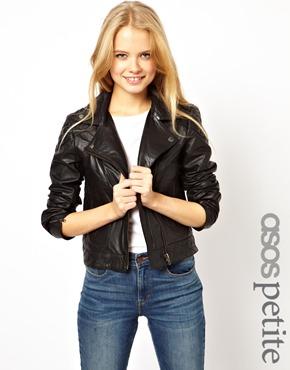 ASOS Petite   ASOS PETITE Exclusive Leather Biker Jacket at ASOS
