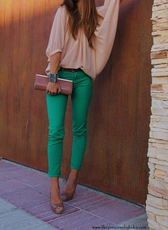 jeans green pants white blouse