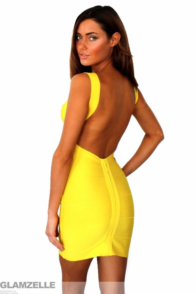 """yellow goddess"" backless low back yellow bandage dress – glamzelle"