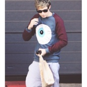 sweater,niall horan,sweatshirt,one direction,eyeball,red,blue,sweatpants,light grey,cuddle,nialler,niall