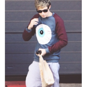 sweater niall horan sweatshirt one direction eyeball red blue sweatpants light grey cuddle nialler niall