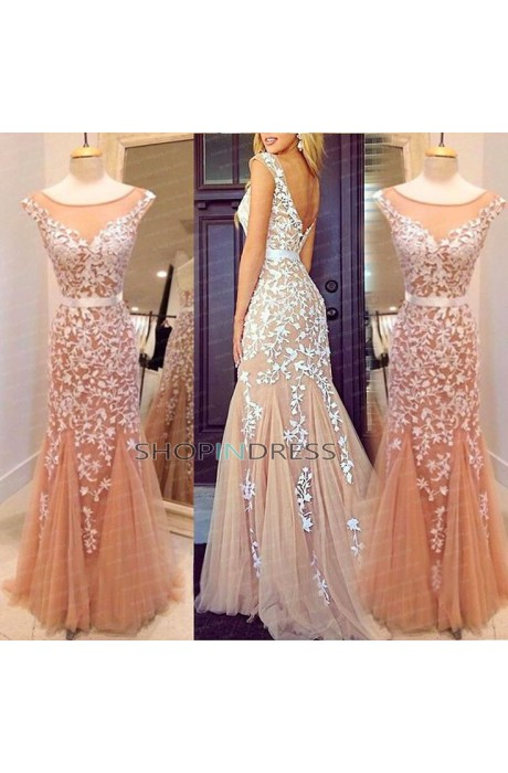 Mermaid/trumpet scoop floor length lace prom dress with appliques npd098009 sale at shopindress.com