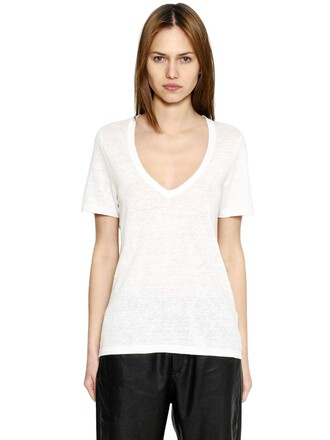 t-shirt shirt v neck white top