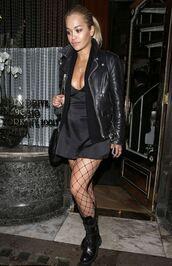jacket,dress,tights,mini dress,rita ora,all black everything,boots,biker jacket,All black  outfit