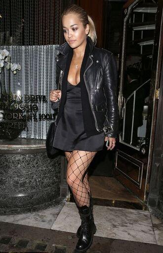 jacket dress tights mini dress rita ora all black everything boots biker jacket all black  outfit