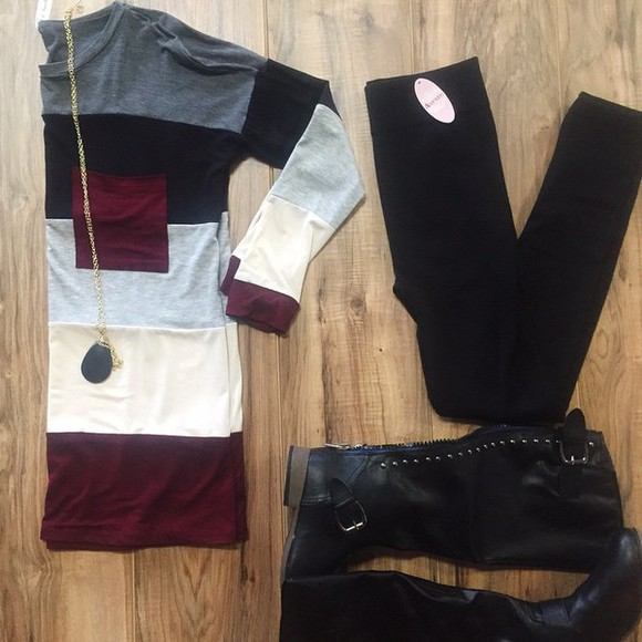 fall outfits burgundy sweater stripes