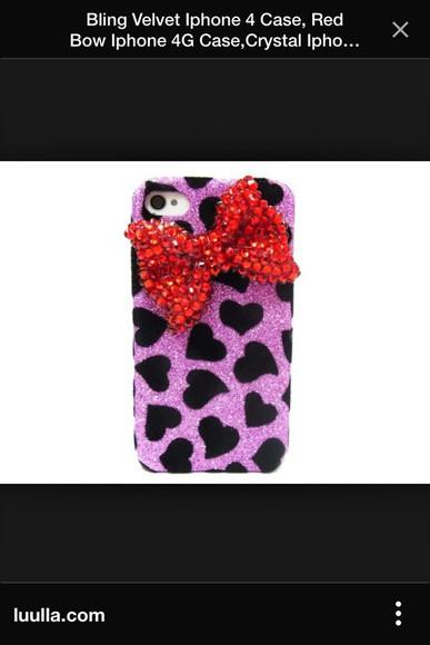 black hearts red phone case phone case iphone 4 case purple leopard print bows