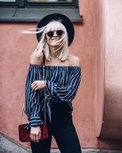 top,tumblr,striped top,hat,off the shoulder,off the shoulder top,stripes,denim,jeans,black jeans,bag,red bag,chain bag,sunglasses,sun hat,blouse,navy,blue top,long sleeves