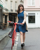 dress,jeanne damas,blue dress,midi dress,cardigan,nude cardigan,shoes,black shoes