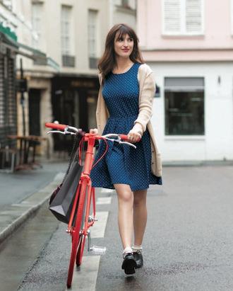 dress jeanne damas blue dress midi dress cardigan nude cardigan shoes black shoes