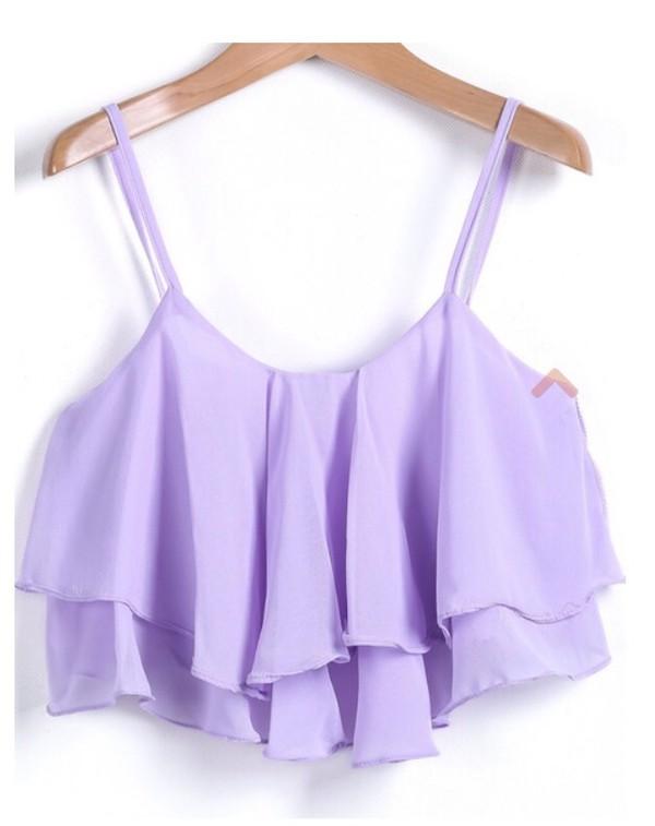 blouse lilac ruffle tank top crop tops