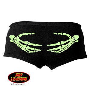 Hot leathers black biker knickers panties skeleton hands ladies glow in the dark