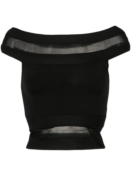 Andrea Bogosian top off the shoulder women spandex black knit