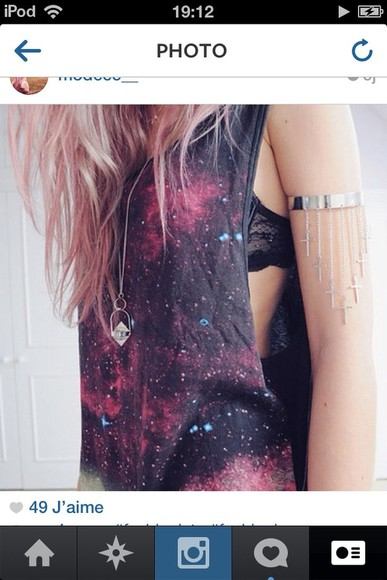 shirt galaxy muscle tank muscle shirt tank top galaxy shirt Jewlery jewelry necklaces necklace bracelets crosses necklace cross tank top
