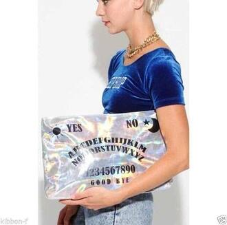 bag ouija multicolor shiny silver letters number yes noir perfect sun moon oh my god perf